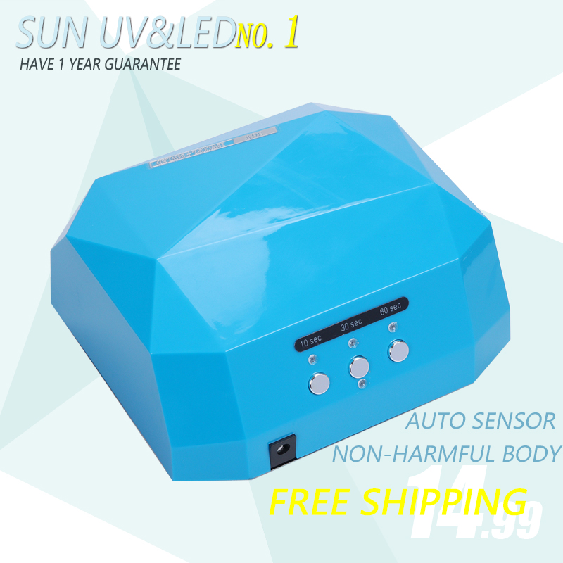 SUN 36W Upgrade Diamond LED&UV Nail Lamp White Light 365nm+405nm Lamp Curing Both LED Gel UV Gel Professional Nail Lamp