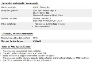 Image 4 - New amd ryzen 3 2200g cpu 3.5GHz 4 Core 4 Threads Socket AM4 Original processador with Radeon Vega 8 Graphics TDP 65W 14nm