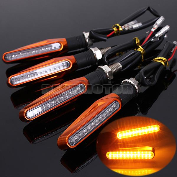 Awesome For You Store 4 PCS Universal 12V 1.3W Super Bright Motorcycle Motorbike LED Turn Signal Indicators Amber Blinker Light Lamp
