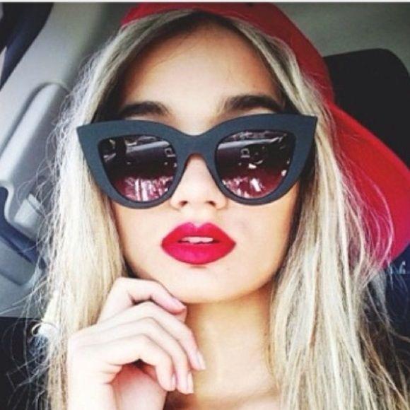 HTB1rwSyRpXXXXbAXVXXq6xXFXXX6 - Women's cat eye sunglasses ladies Plastic Shades quay eyewear brand designer black pink sunglasses PTC 221