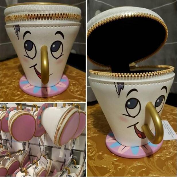 Новый Красота и чудовище чип Портмоне PU 3D чашки брелок для монет мешок Игрушечные лошадки для Для женщин подарок игрушки