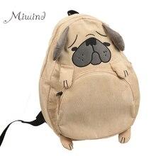 Vintage mignon designer chien renard oreille broderie en velours côtelé toile femmes sac à dos école portable sac filles sac à dos voyage mochila