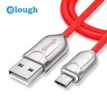 Elough цинковый сплав Micro USB кабель для Samsung Xiaomi Android мобильных телефонов Быстрая зарядка 1 м 2 м USB данных провода MicroUSB Ткань кабель