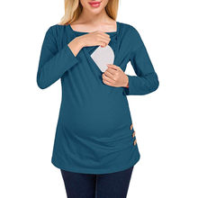7113626161077 (Ship from US) ARLONEET Maternity pregnant solid breastfeeding t-shirt Mama  women's blouse top Tees Button Side Shirred Nursing Shirt W1129