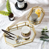 Vintage Metal Mirrored Glass Ornate Decorative Square Tray Storage Box for Makeup Jewelry Golden, Set of 2 (Small and Large)