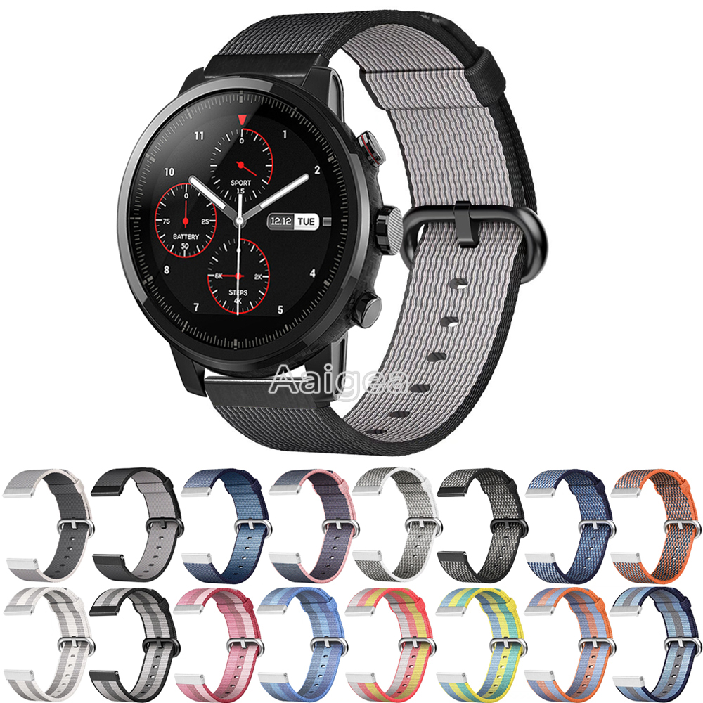 Woven Nylon Band Breathable Loop Strap for Huami Amazfit Strato Sports Watch 2 Colorful wristband for amazfit sports watch band ashei 22mm newest nylon loop watchbands for xiaomi huami amazfit strap watch band woven nylon fabric bracelet for huami amazfitt