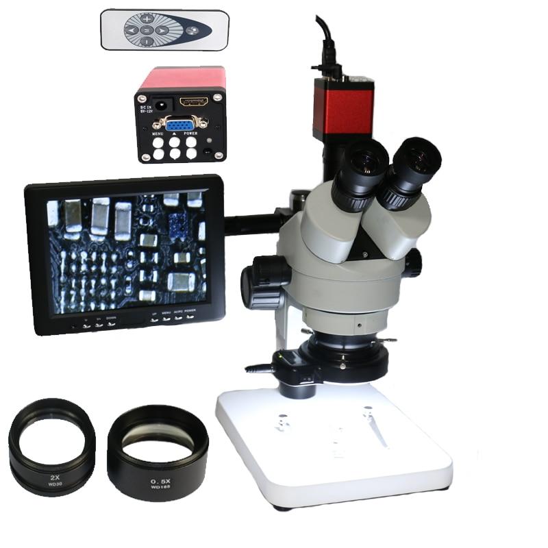 Simul Focal 3.5x-90x industrial trinocular microscope + 13MP VGA  HDMI digital camera +8 inch LCD monitor mobile phone repair