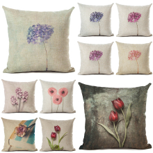Beauty Purple Tulips Printed Flowers Cushion Cover 45x45cm Linen Plants Throw Pillow Covers Forget-me-not Pillowcases Decorative santoro london закладка магнитная forget me not all these words