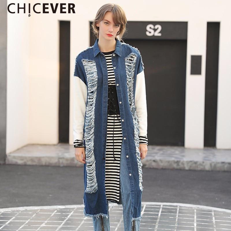 CHICEVER Hole Vintage Denim Trench Coat Female Womens Windbreaker Long Sleeve Loose Big Size Autumn Basic Coats Clothes 2017
