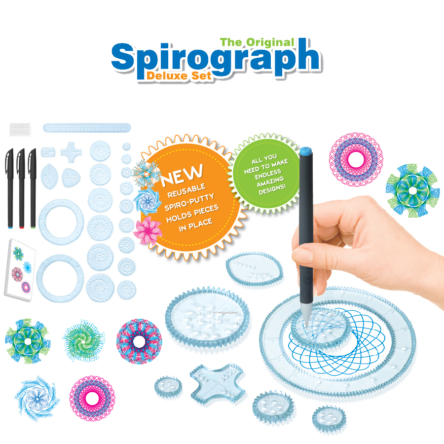 Spirograph Drawing toys set 20 Accessori Creative Draw Spiral Design Interlocking Gears & Wheels, Disegno creativo per i bambini