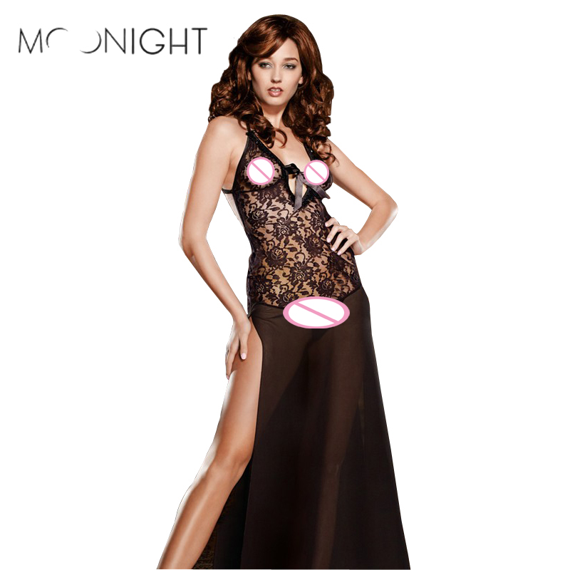 MOONIGHT Lace Sexy Lingerie Ladies Sexy Erotic Lingerie Sexy Perspective Suspender Sex Skirt Low-Cut Temptation Nightdress