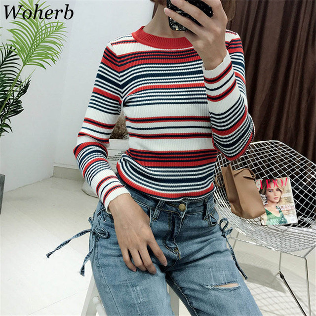 b98ebecce Woherb 2019 Korean Casual Striped Sweater Women Harajuku Elastic Knitting  Jumper Pull Pullover Manteau Femme Hiver 20236