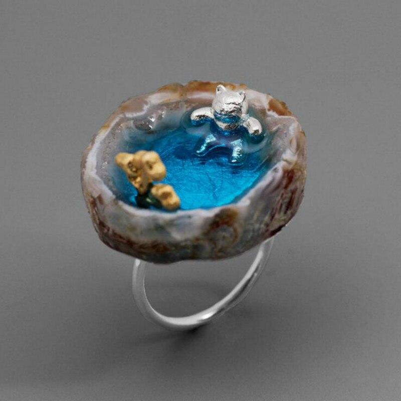JINSE Real 925 en argent Sterling fait à la main Bijoux fins belle printemps chaud chat anneau ouvert pour les femmes Bijoux cadeaux mignons