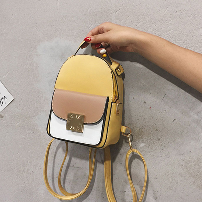 Women Green Contrast Color Leather Backpack Mini Soft Touch Multi-Function Small Backpack Female Ladies Shoulder Bag Girl Purse