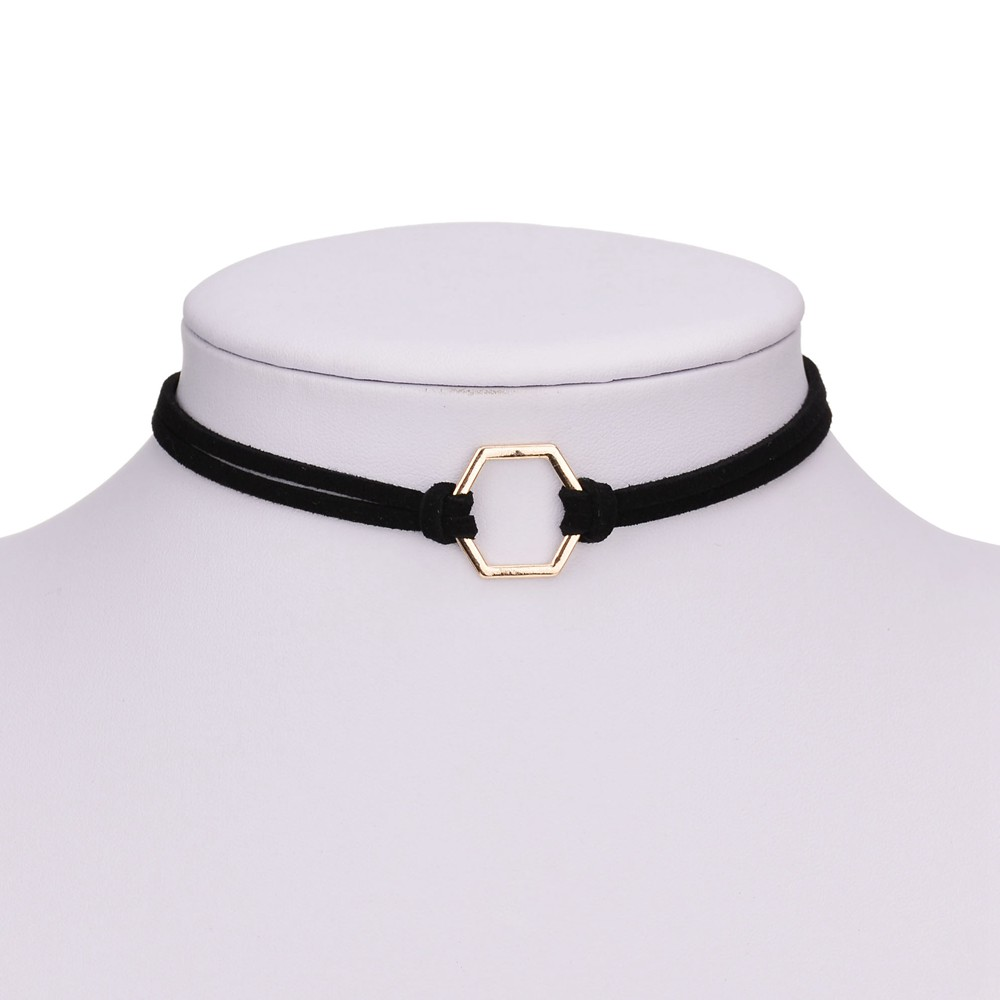 5fb5be751e73 Simple Fashion Jewelry Gold color Geometric Black Velvet Leather Choker  Necklaces   Pendants For Women Gothic Collares Chocker-in Choker Necklaces  from ...