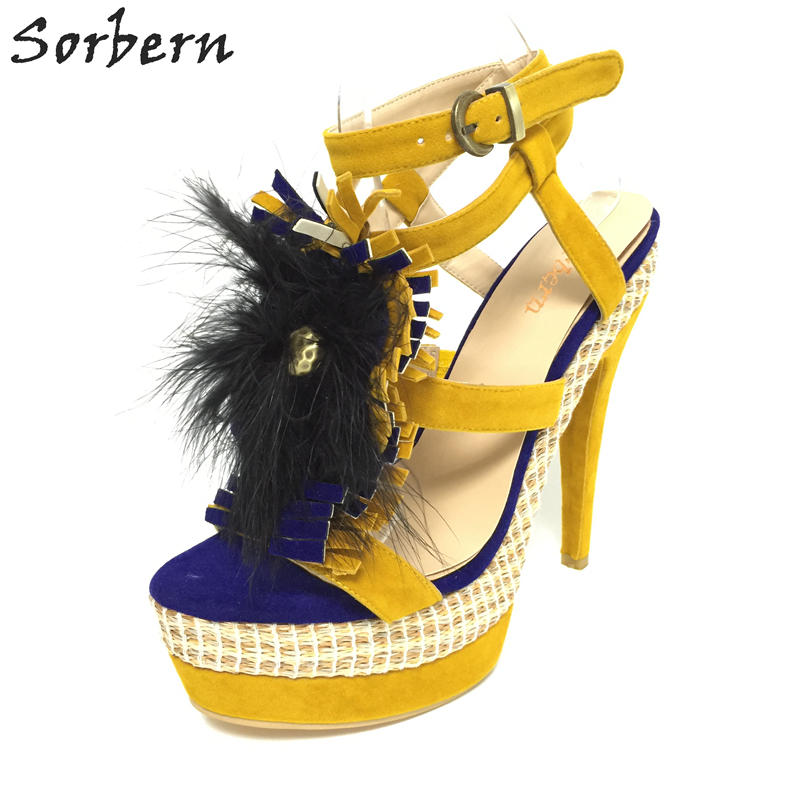 Sorbern Yellow High Heels Size 10 Us Women Sandals Super High Heels 16Cm Women Shoes Double Strap Ostrich Feather Big Shoes 40 women high heels big