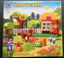 45pcs Happy Farm Horse Animal Building Blocks Bricks Set Gift Toys Compatible Duploe Farm Animals