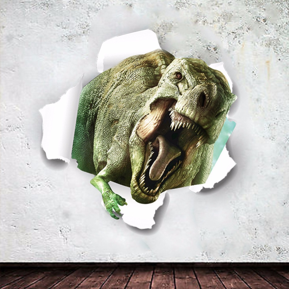 2pcs/set 3D Dinosaur Wall Sticker Jurassic Home office DIY Wall Poster Bedroom For Children Home Decoration
