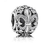 Fleur De Lis Clear CZ Charm Bead 925 Sterling Silver Jewelry For Women Fits Europe Bracelets