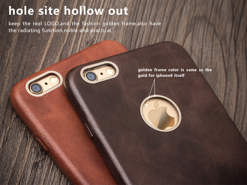 ecb139b2ee9 QIALINO Genuine Leather Phone Case for iPhone 6   6s Calf Skin ...