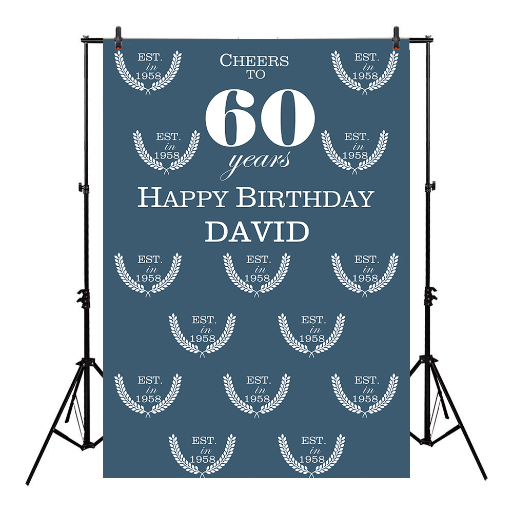 Neoback Celebration 60th Birthday Party Backdrop For Dad Gift Father Cheers Repeat Pattern Background Photo Studio