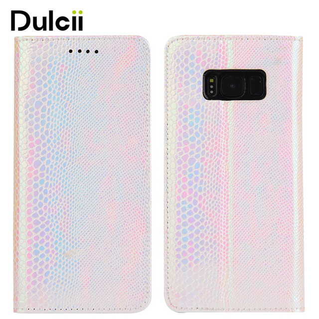 Dulcii Phone cover fundas For Samsung Galaxy S8 SM-G950 Fancy Snake Texture TPU+PU Leather Wallet Case with Stand-Pink