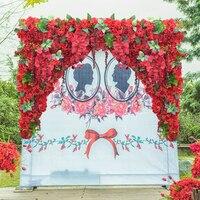 1.2 м x 1.2 м Горячий красный свадебный цветок стены искусственный шелк цветок фон Свадебный питания 2 шт/комплект
