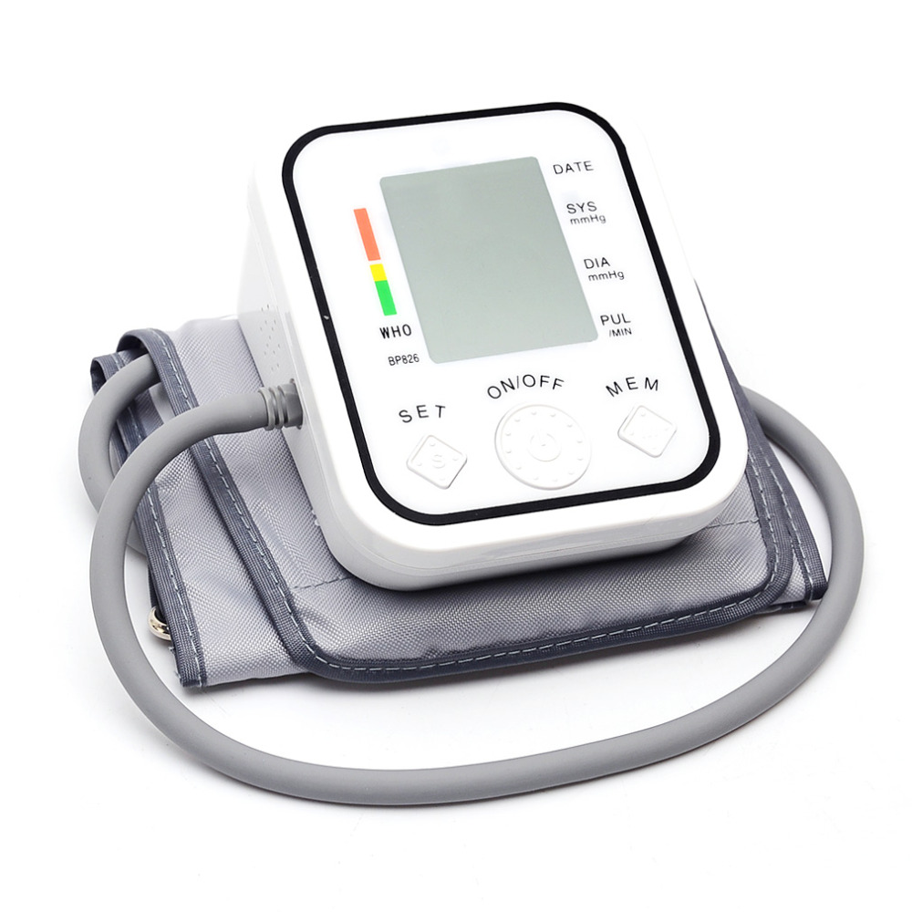 Hot BP826 Digital bp Upper Arm Blood Pressure Monitor Tonometer Meter Health Care Sphygmomanometer Cuff NonVoice home care laser light therapy instrument wrist watch type reduce high blood pressure