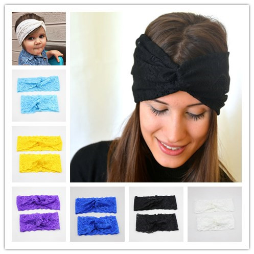 Retail New and Mom Lace Turban Headband Set Lace Stretchy Headwrap for Hair  Accessories 8d50fbc98e6