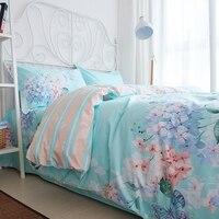 American Pastoral Style Blue Folral Bedding Set Girl Duvet Cover Set Full Queen 4PCS