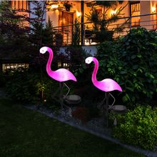 лучшая цена 1/2/4pcs LED Solar Garden Flamingo light Solar powered Panel Waterproof Outdoor Home Lawn Yard Path Lawn Garden decoration lamp