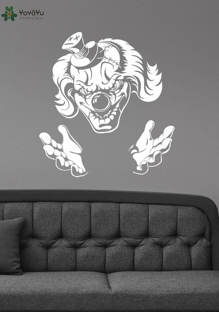 Evil jester wall stickers vinyl halloween wall decal demonic scary art mural home decoration accessories removable