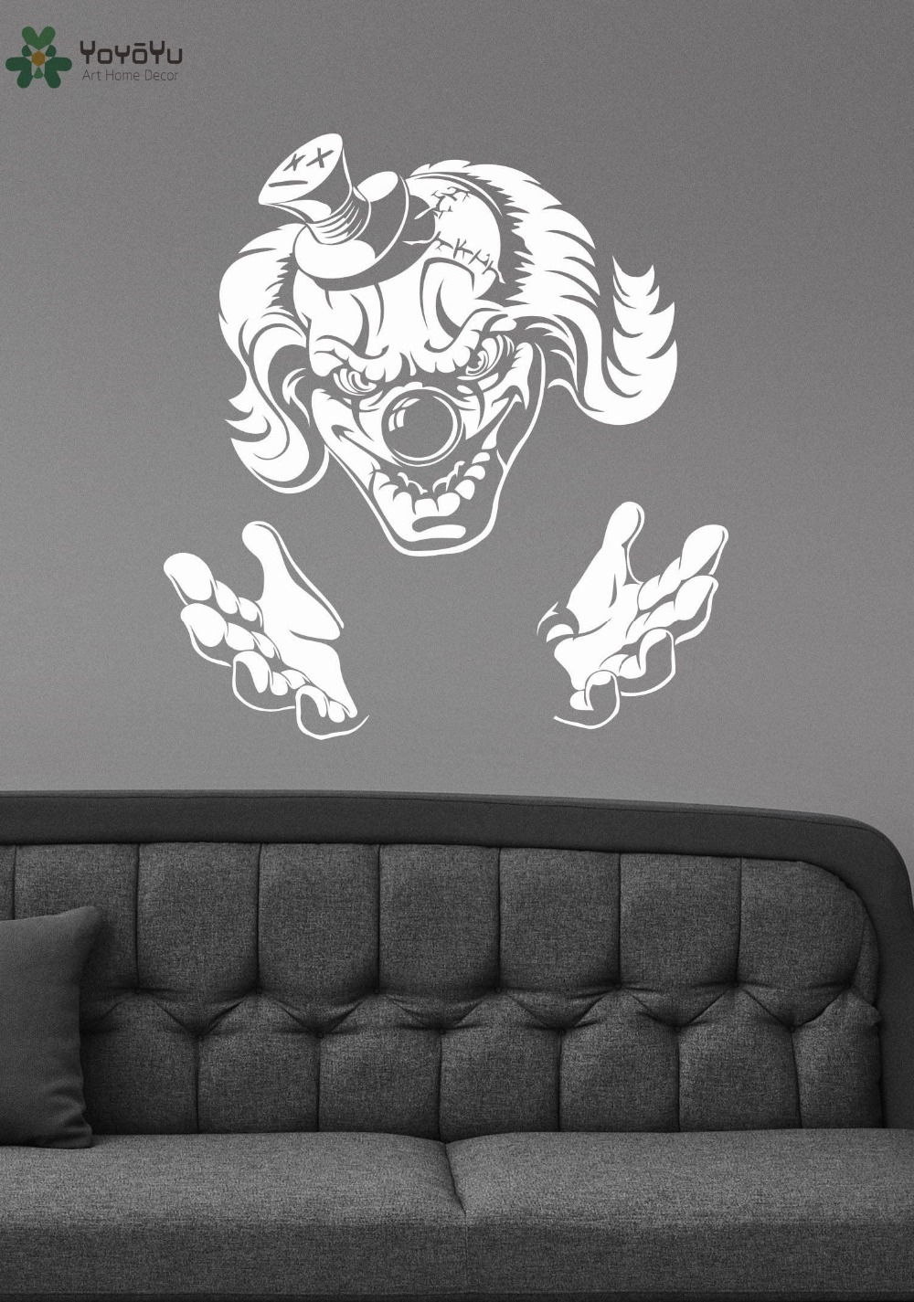 evil jester wall stickers vinyl halloween wall decal demonic scary art mural home decoration accessories removable - Halloween Wall Mural