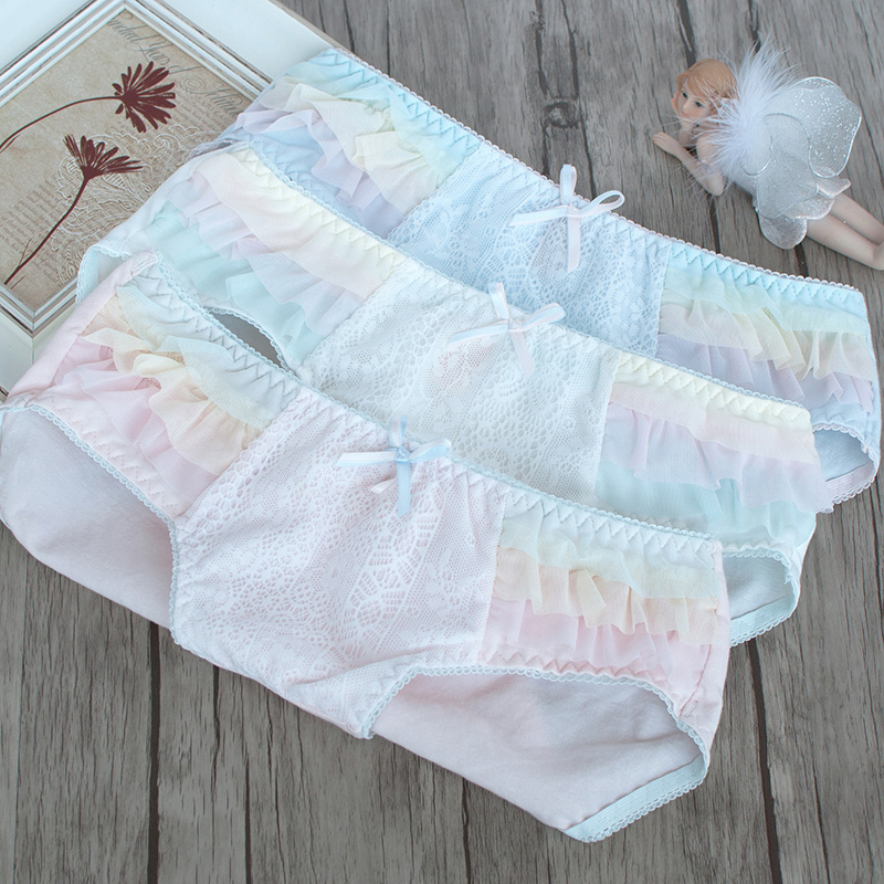 sweet color stitching on both sides of multi-layer gauze cotton panties low waist cotton fabric comfort tanga thong string
