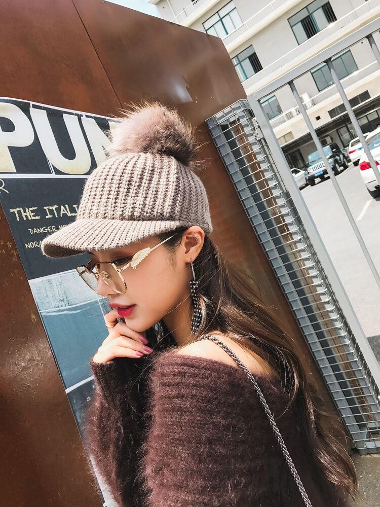 BINGYUANHAOXUAN Coreana bola de Pelo de Punto gorro de lana sombrero ... 19a334ddc84