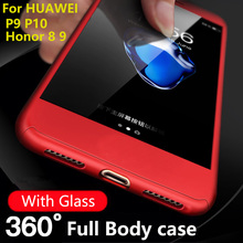 Luxury Protect Phone Cover For Huawei P9 P10 Lite cases 360 Degree Full Body for huawei p9 p10 plus Honor 8 9 With Glass