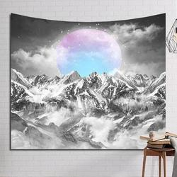 Rising Moon Mountain Tapestry Wall Hanging Tapestry