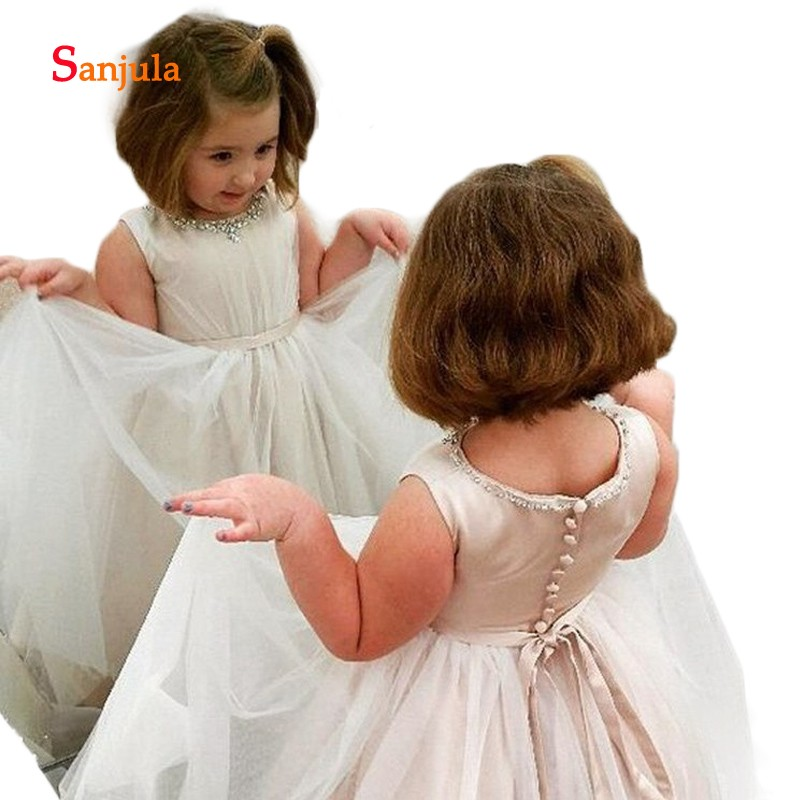 Beaded Scoop A-Line   Flower     Girls     Dresses   Cute Long Child Pageant Party   Dresses   Back Buttons First Communion Gown D150