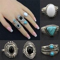 Bohemian Antique Silver Ring Geometric Elephant Flower Green Rhinestone Knuckle Rings Midi Finger Anel Rings Jewelry 5pcs/Set