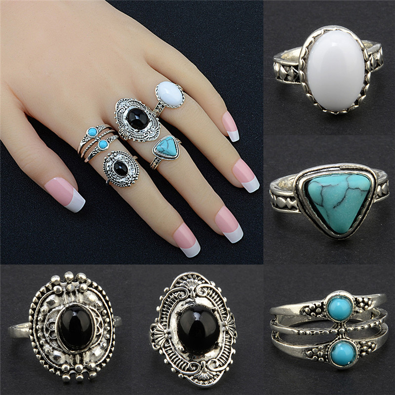 Bohemian Antique Silver Ring Geometric Elephant Flower Green Rhinestone Knuckle Rings Midi Finger Anel Rings Jewelry 5pcs/Set