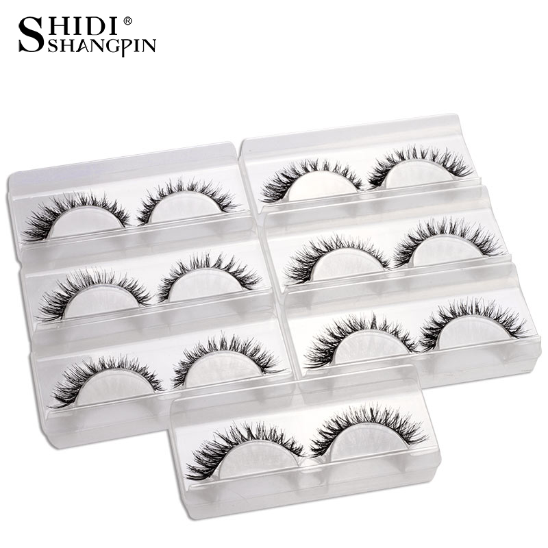 7 Pairs New False Eyelashes Natural Lash Extension Kit Make Up Thick Lashes Cross Handmade Fake Eye Lashes Makeup Eyelashes V12