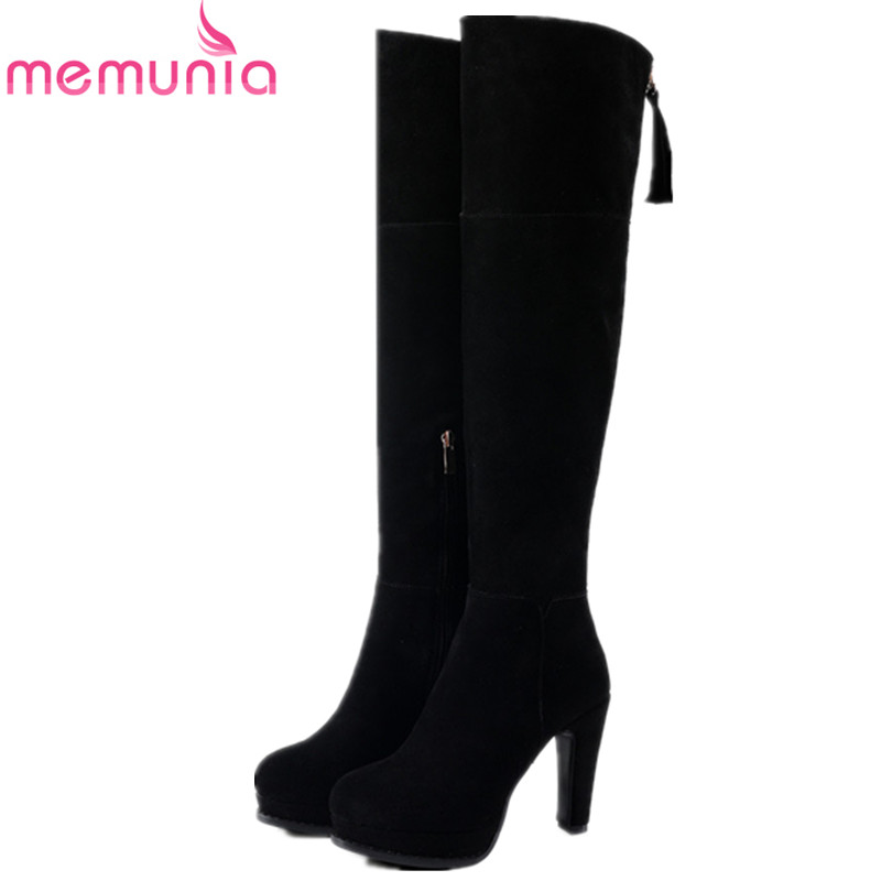 MEMUNIA Over the knee boots for women platform shoes cow suede womens boots early winter high heels boots zip solid fashion цены онлайн