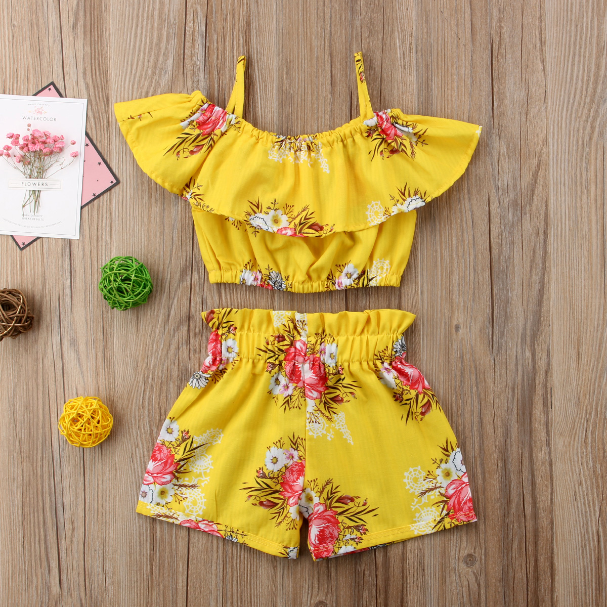 2-6 Year Girls Clothes Set Summer Toddler Kid Baby Girl Ruffles Floral Printed Straps Off Shoulder Tops And Shorts 2Pcs Sets