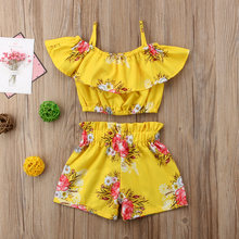 2-6 Year Girls Clothes Set Summer Toddler Kid Baby Girl Ruffles Floral Printed Straps Off Shoulder Tops and Shorts 2Pcs Sets(China)