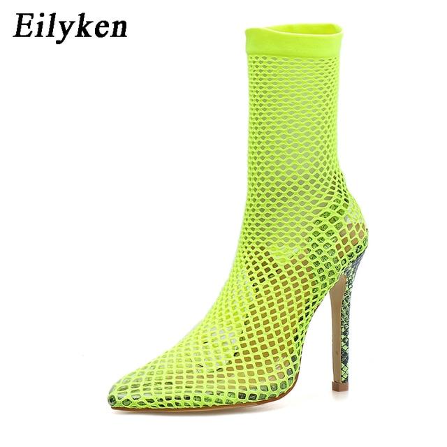 Eilyken fluorescente greent mujeres puntiagudas malla agujeros sandalias Sexy verano Zapatos transpirables Cool OL fiesta alto talón tobillo botas