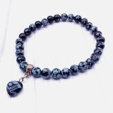 Heart Charm Bracelet 6 mm Snowflake stone Beads For Women girls Gift 18.5 cm Long