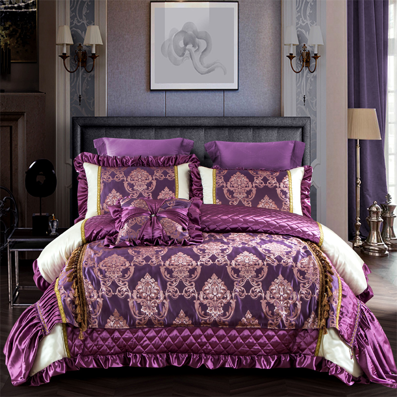 Violet luxury 100S Tencel cotton Comfortable Bedding Set Queen King Size Duvet Cover Bed Linen Bed cover Bed sheet Pillowcases