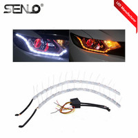 Hot Sell Factory Direct Supply White Amber Yellow DRL Lamp Turn Signal Lights LED Flexible Crystal Tear Eyes Strip Light Flowing
