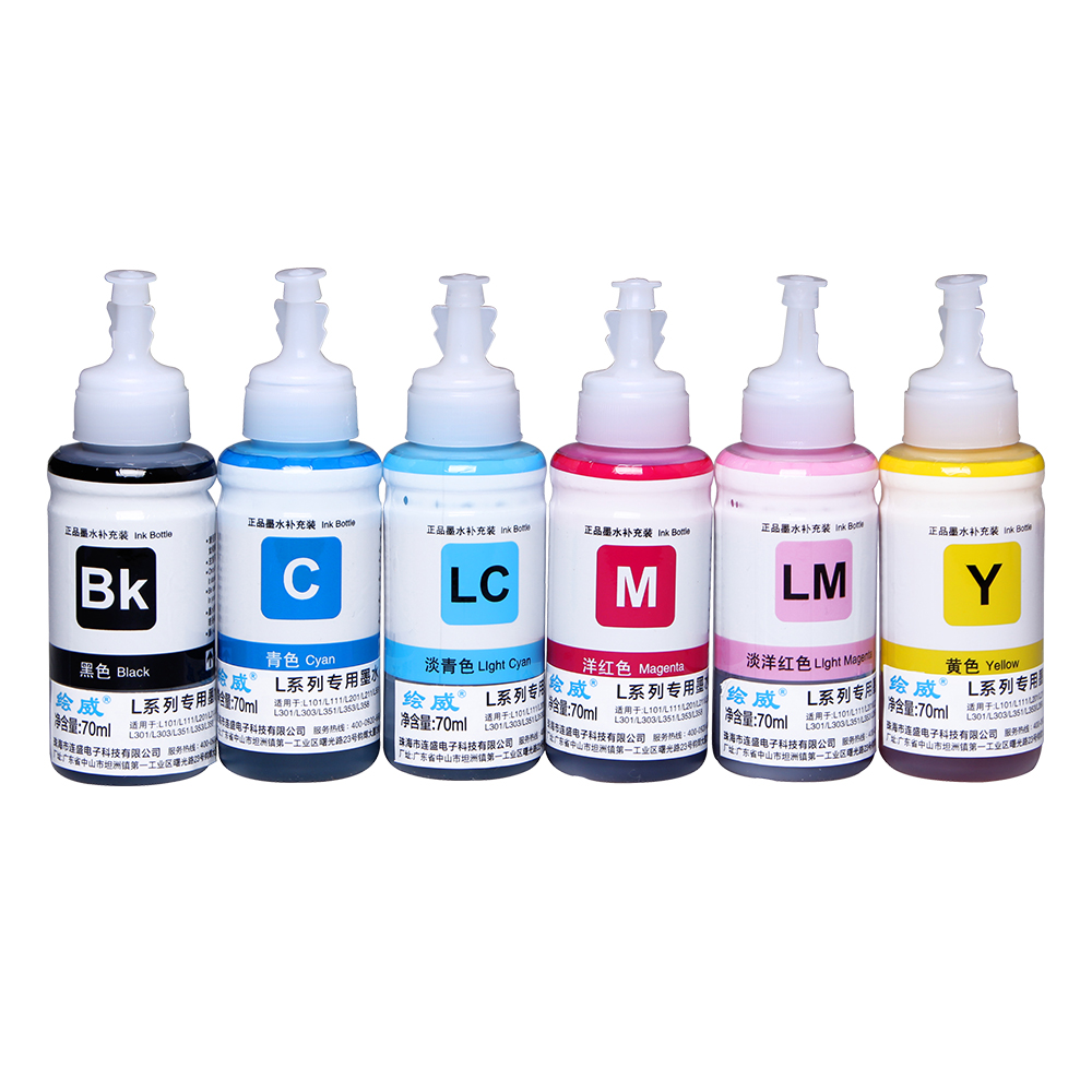 6 Pcs 70ml Refill Ink Kit for Epson L800 L801L351 L353 L551 printer ink Cartridge(6 color)