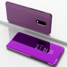 Mirror Flip Case For Oneplus 6T Luxury Clear View PU Leather Smart Cover 1+6t Phone for One plus